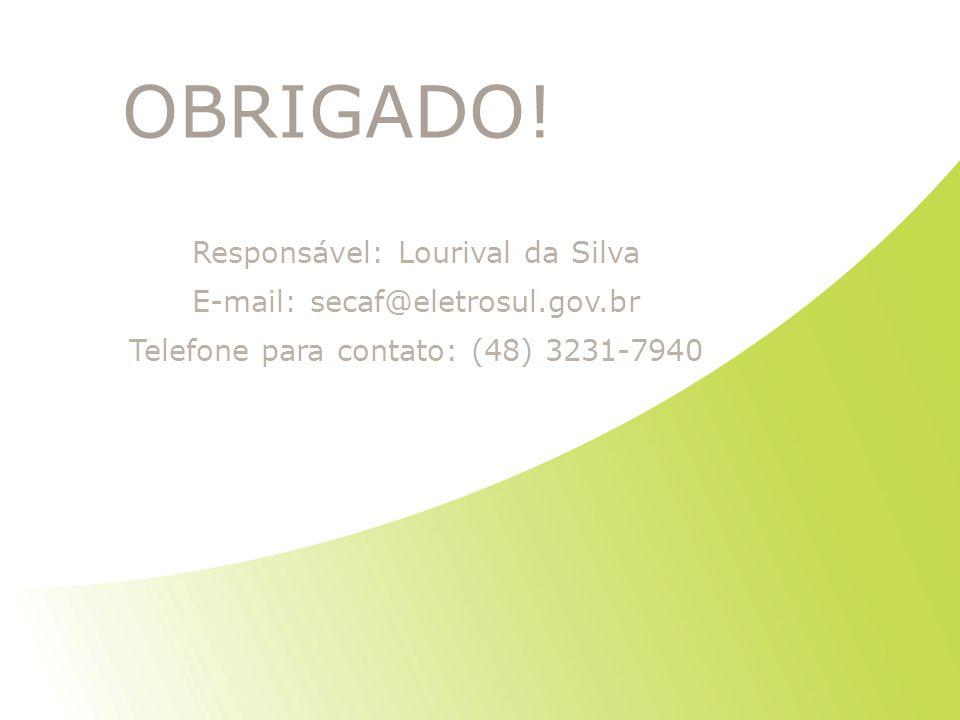 OBRIGADO! Responsável: Lourival da Silva
