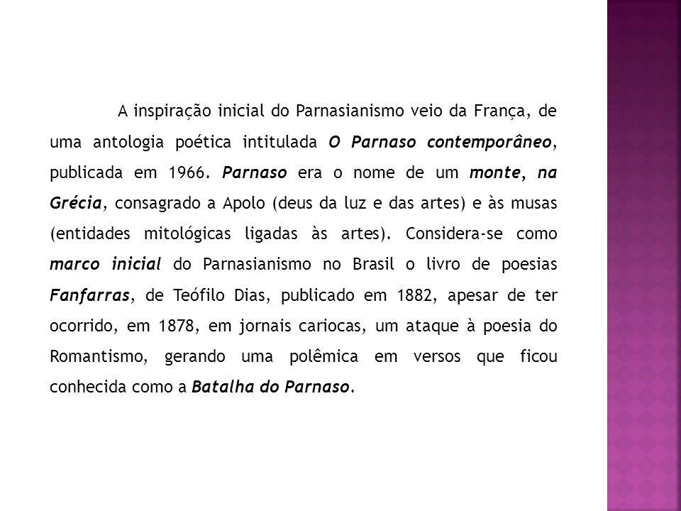 A inspiração inicial do Parnasianismo veio da França, de uma antologia poética intitulada O Parnaso contemporâneo, publicada em 1966.