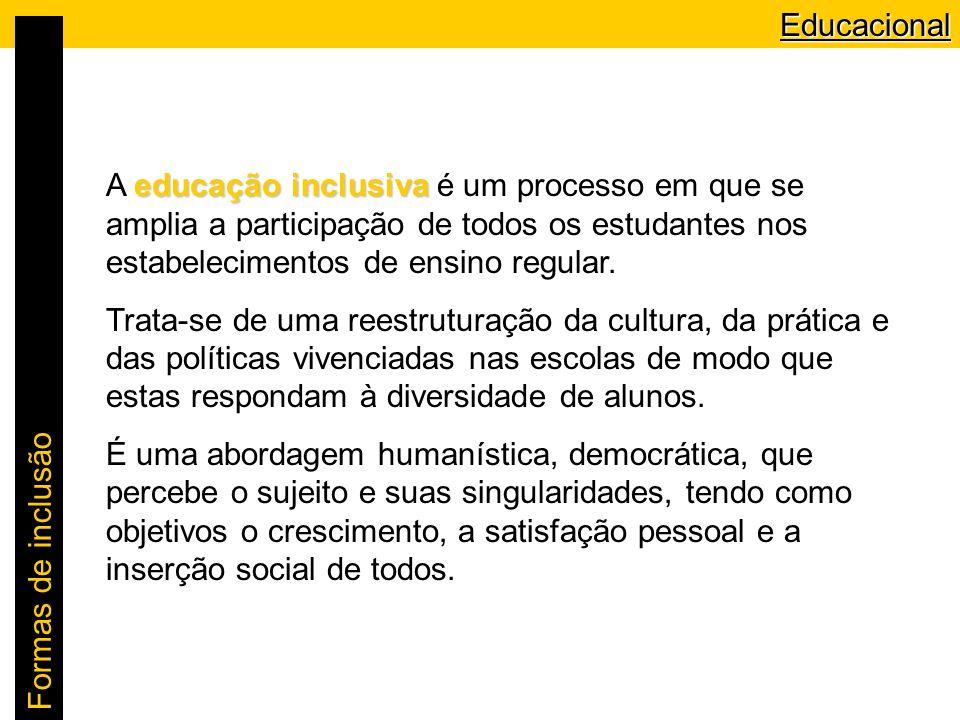 Educacional A educação inclusiva é um processo em que se amplia a participação de todos os estudantes nos estabelecimentos de ensino regular.
