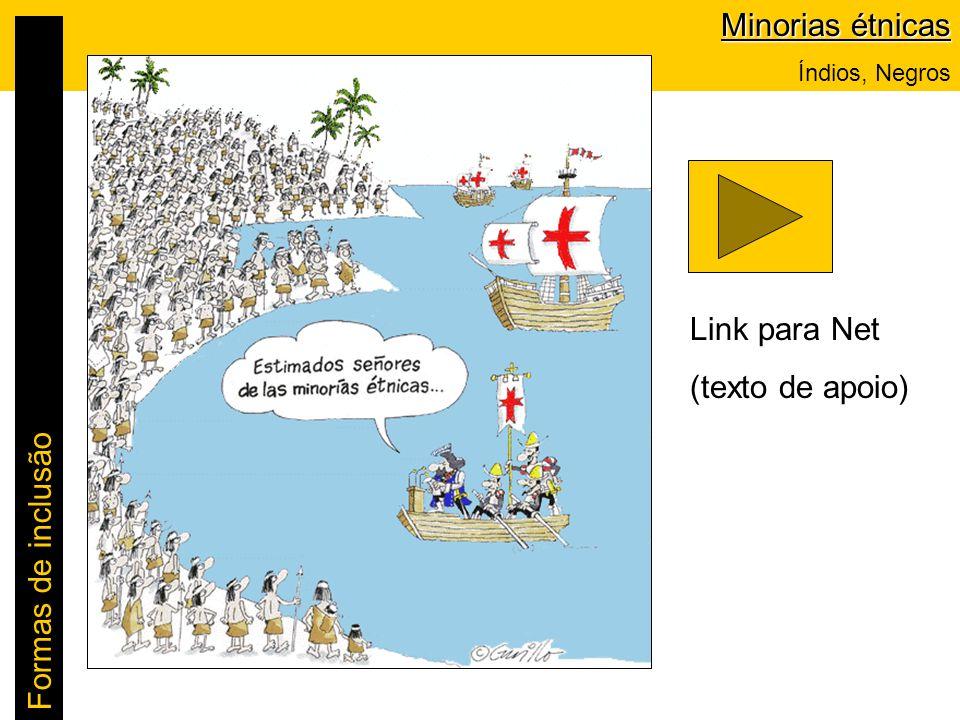 Minorias étnicas Link para Net (texto de apoio) Formas de inclusão