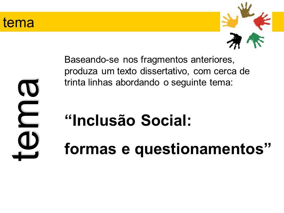 tema Inclusão Social: formas e questionamentos tema