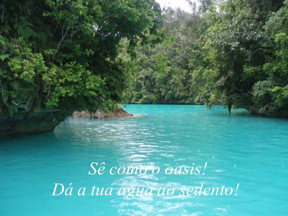 Sê como o oasis! Dá a tua água ao sedento!