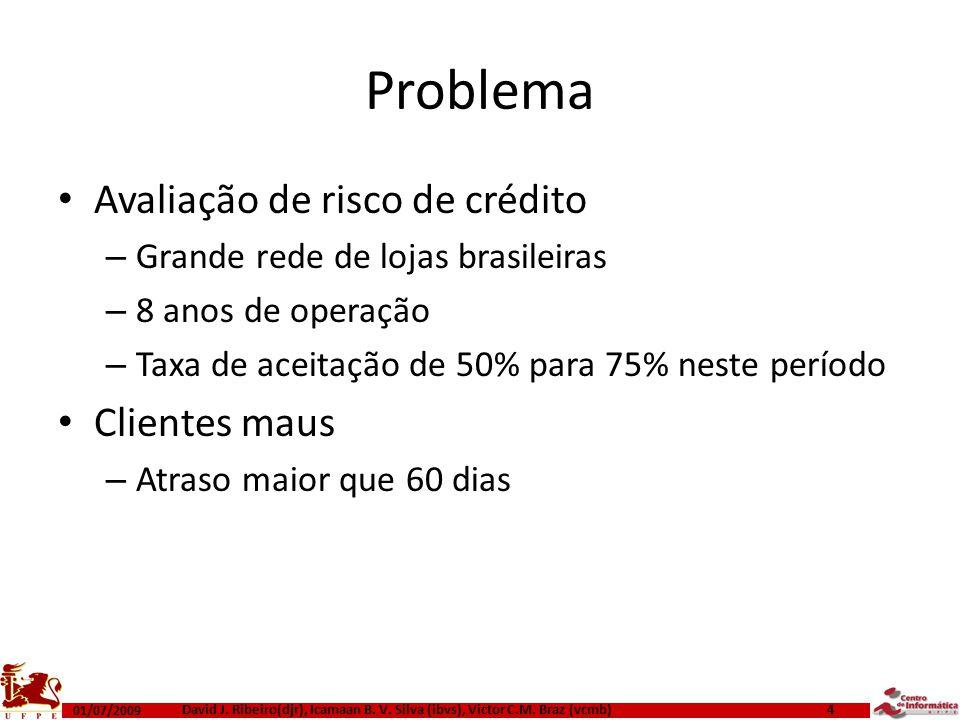 Problema Avaliação de risco de crédito Clientes maus