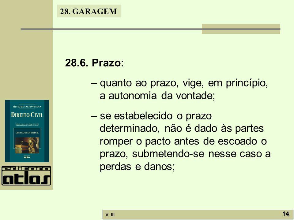 28.6. Prazo: – quanto ao prazo, vige, em princípio, a autonomia da vontade;