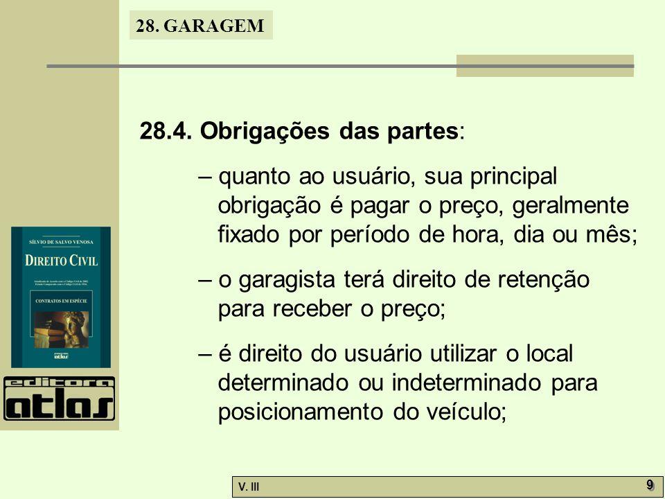 28.4. Obrigações das partes: