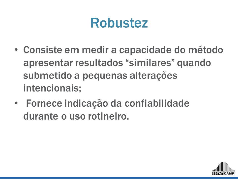 Robustez Consiste em medir a capacidade do método apresentar resultados similares quando submetido a pequenas alterações intencionais;