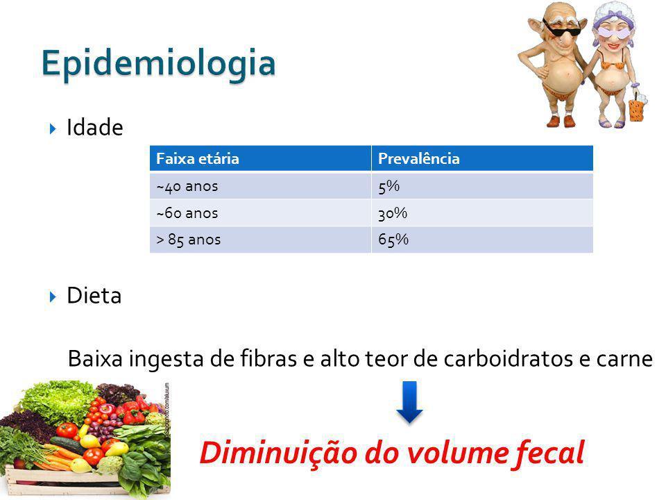 Diminuição do volume fecal