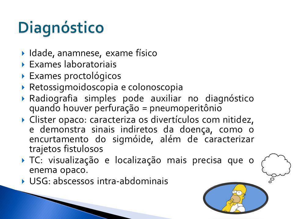 Diagnóstico Idade, anamnese, exame físico Exames laboratoriais