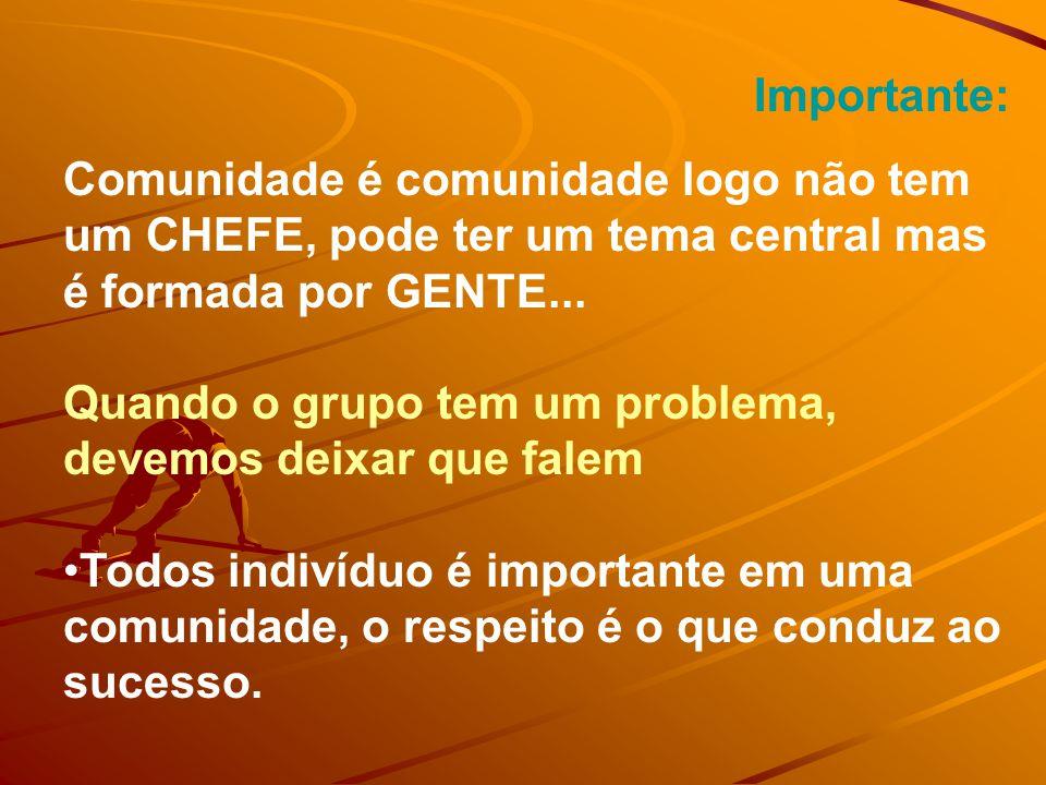 Importante: Comunidade é comunidade logo não tem um CHEFE, pode ter um tema central mas é formada por GENTE...
