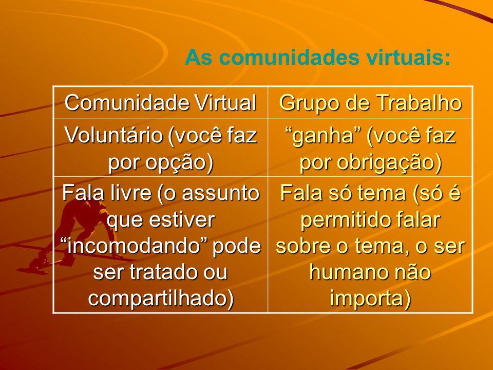 As comunidades virtuais: Comunidade Virtual Grupo de Trabalho