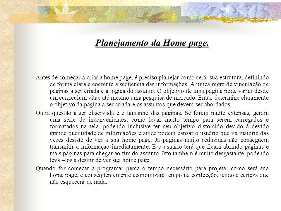 Planejamento da Home page.