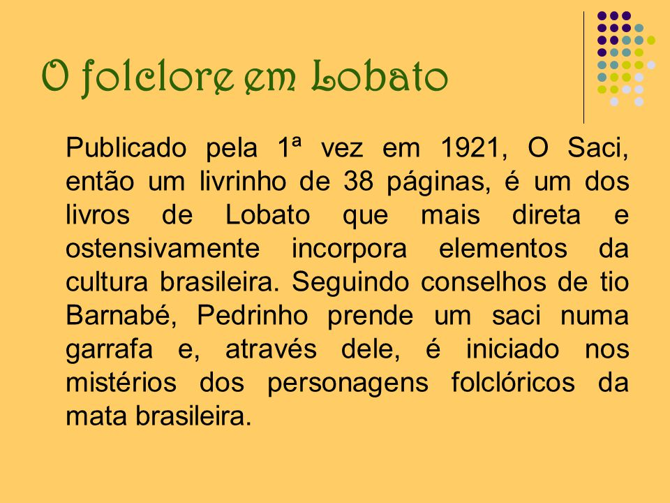 O folclore em Lobato