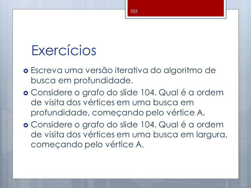 Exercícios Escreva uma versão iterativa do algoritmo de busca em profundidade.