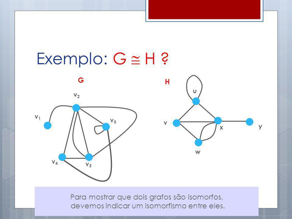 Exemplo: G  H G H Para mostrar que dois grafos são isomorfos,