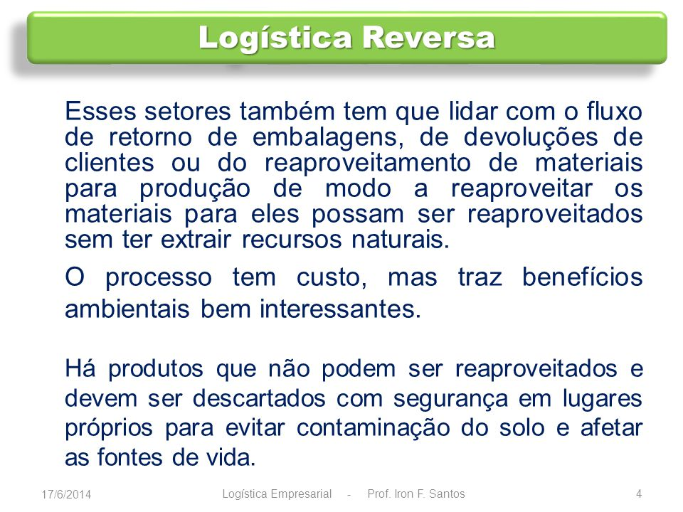 Logística Empresarial - Prof. Iron F. Santos