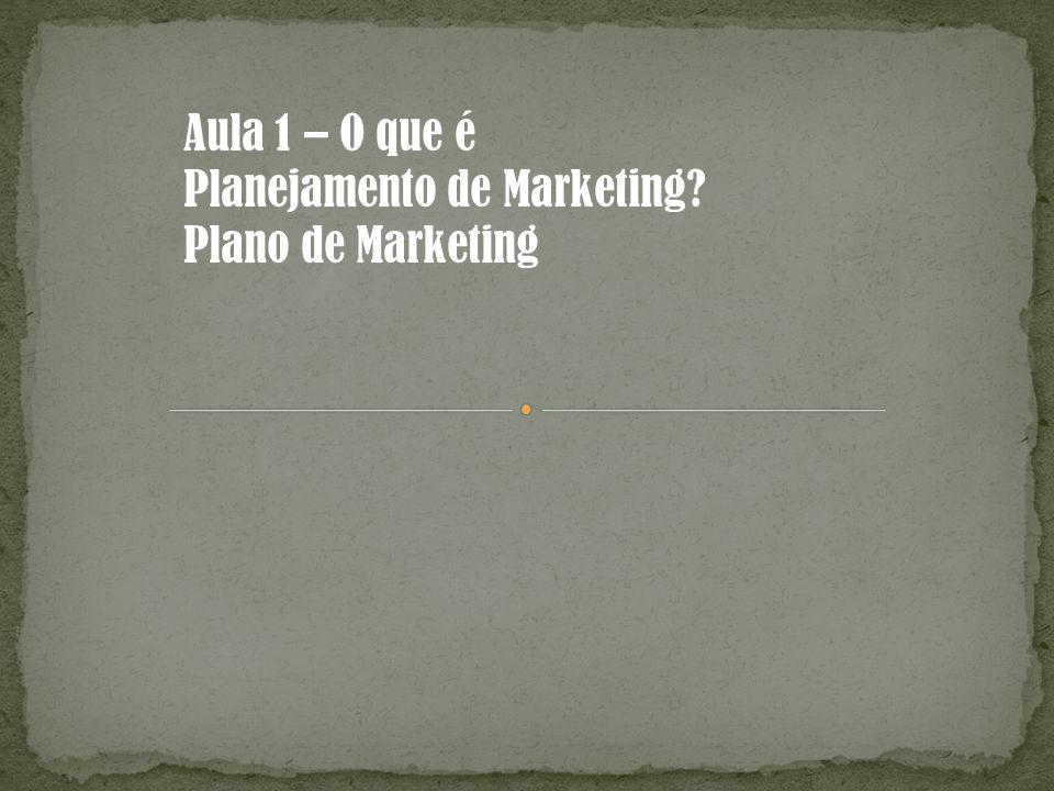 Aula 1 – O que é Planejamento de Marketing Plano de Marketing