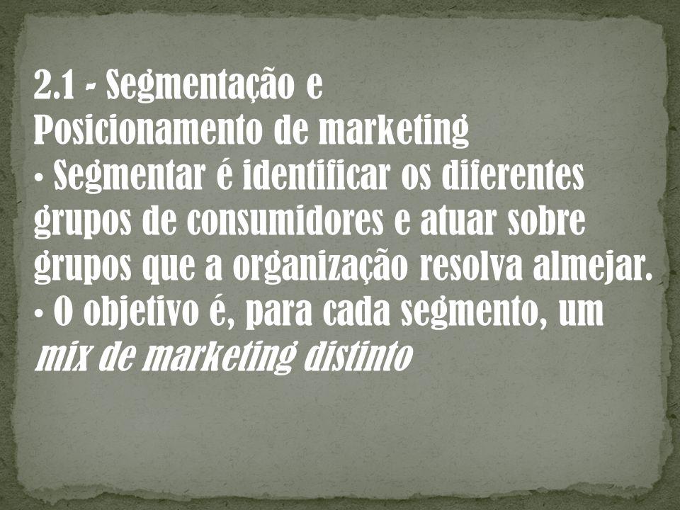 2.1 - Segmentação e Posicionamento de marketing. • Segmentar é identificar os diferentes. grupos de consumidores e atuar sobre.