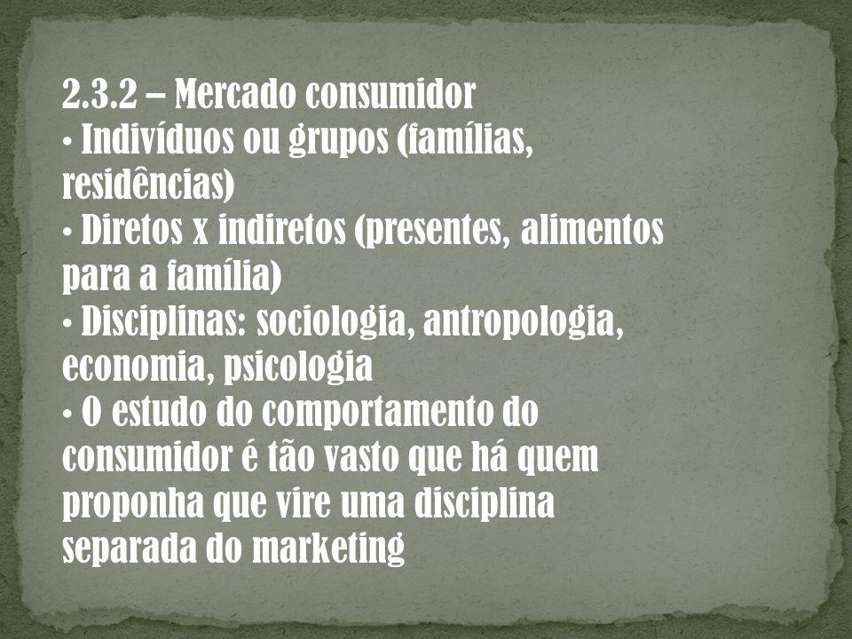 2.3.2 – Mercado consumidor • Indivíduos ou grupos (famílias, residências) • Diretos x indiretos (presentes, alimentos.