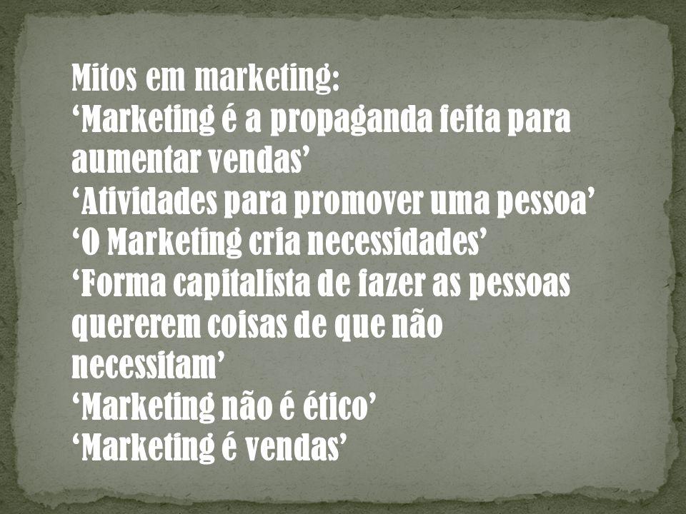 Mitos em marketing: 'Marketing é a propaganda feita para. aumentar vendas' 'Atividades para promover uma pessoa'