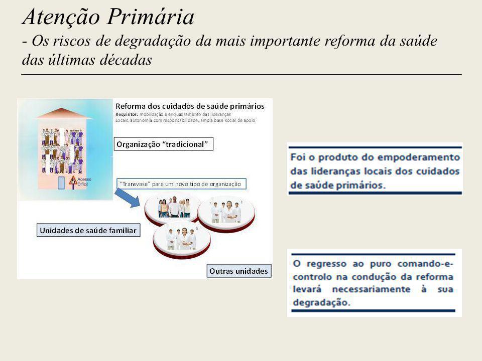 Atenção Primária - Os riscos de degradação da mais importante reforma da saúde das últimas décadas