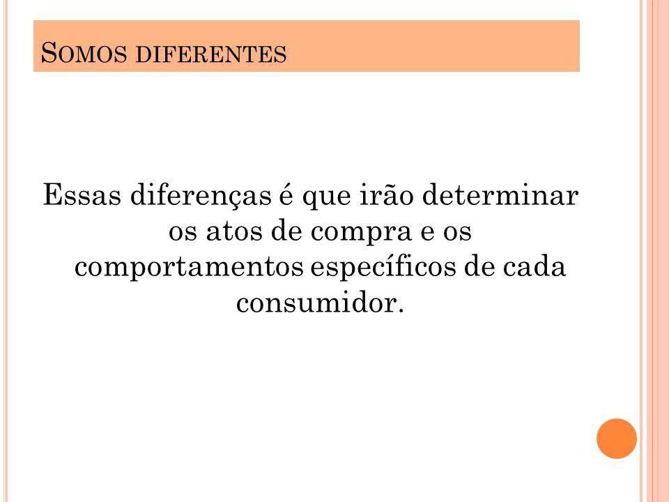Somos diferentes Essas diferenças é que irão determinar os atos de compra e os comportamentos específicos de cada consumidor.
