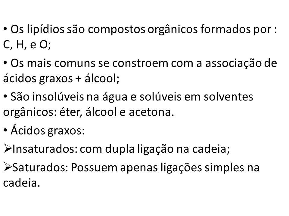 Os lipídios são compostos orgânicos formados por : C, H, e O;