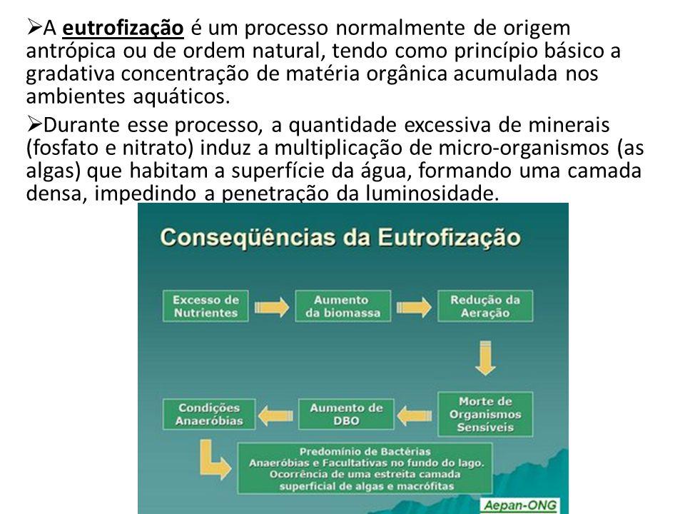 A eutrofização é um processo normalmente de origem antrópica ou de ordem natural, tendo como princípio básico a gradativa concentração de matéria orgânica acumulada nos ambientes aquáticos.