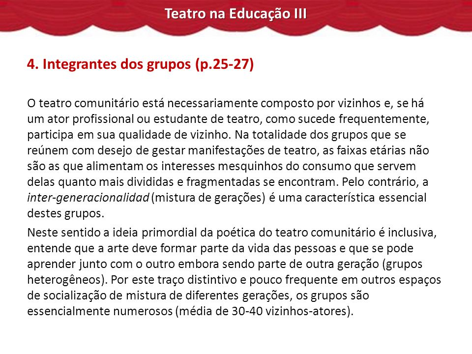 4. Integrantes dos grupos (p.25-27)