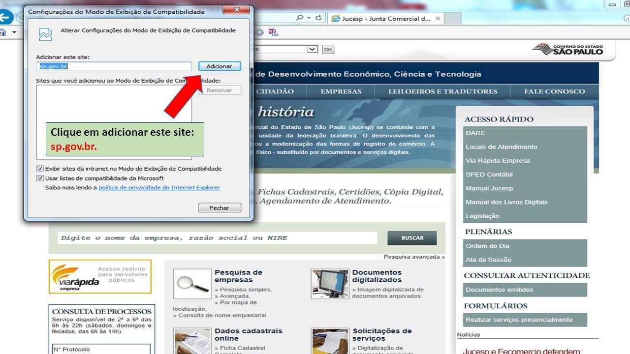 Clique em adicionar este site: sp.gov.br.
