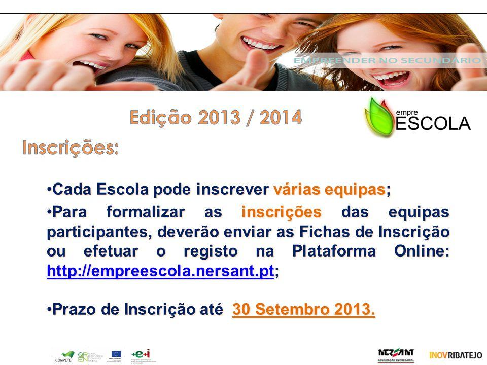 Edição 2013 / 2014 Inscrições: Cada Escola pode inscrever várias equipas;
