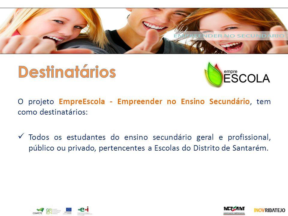 Destinatários O projeto EmpreEscola - Empreender no Ensino Secundário, tem como destinatários:
