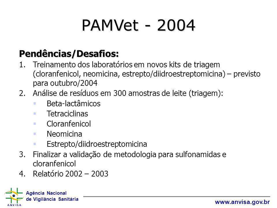 PAMVet - 2004 Pendências/Desafios: