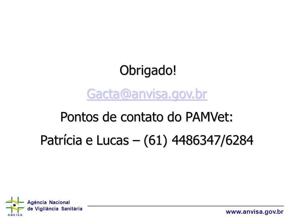 Pontos de contato do PAMVet: