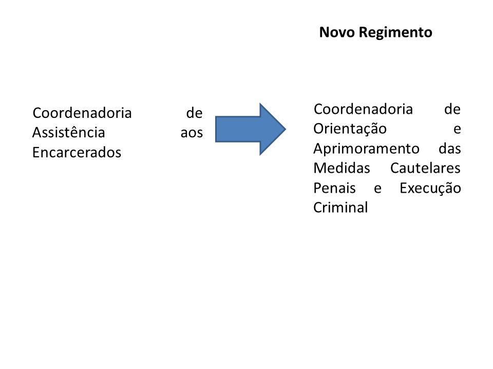 Novo Regimento Coordenadoria de Orientação e Aprimoramento das Medidas Cautelares Penais e Execução Criminal.