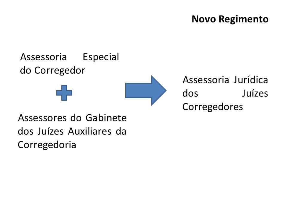 Novo Regimento Assessoria Especial do Corregedor. Assessoria Jurídica dos Juízes Corregedores.