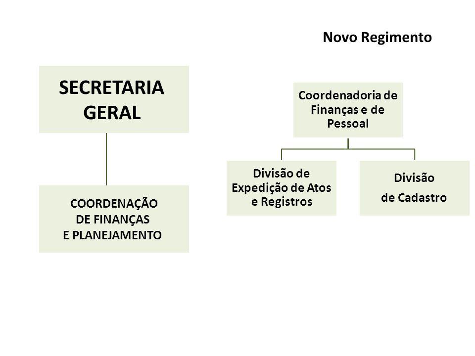 SECRETARIA GERAL Novo Regimento Coordenadoria de Finanças e de Pessoal