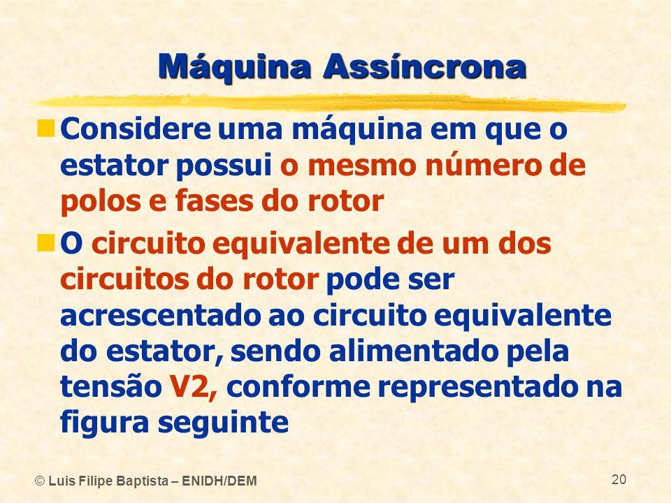 Máquina Assíncrona Considere uma máquina em que o estator possui o mesmo número de polos e fases do rotor.