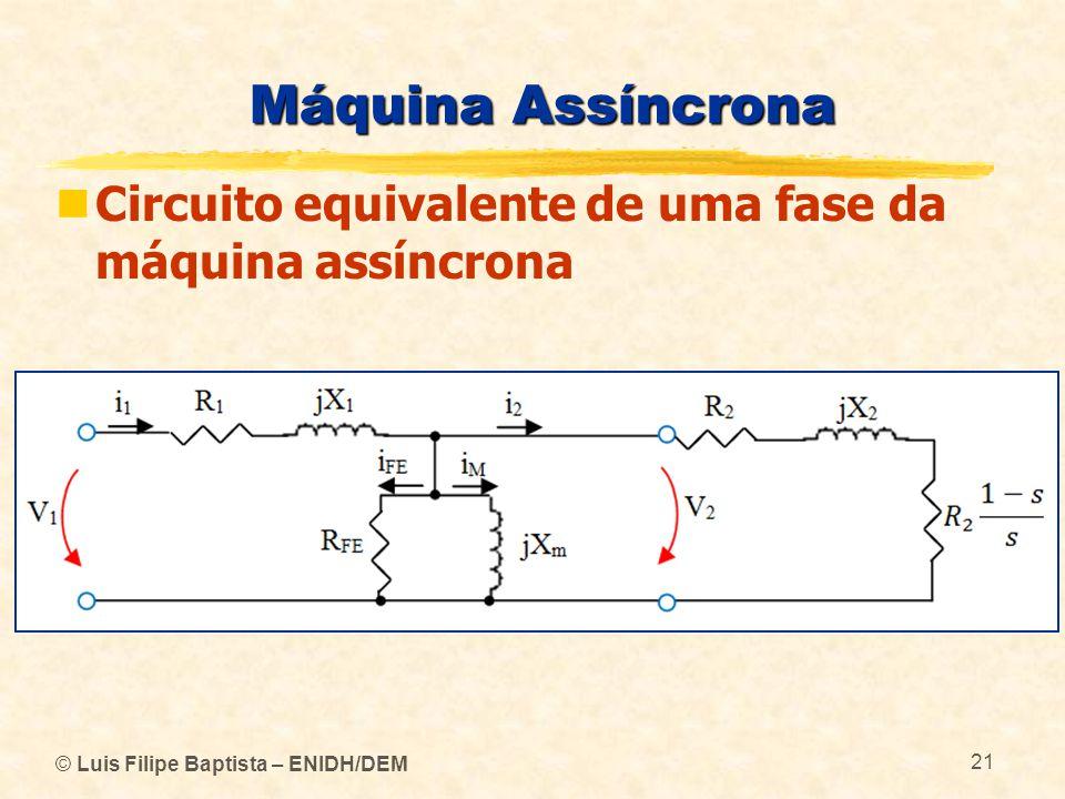 Máquina Assíncrona Circuito equivalente de uma fase da máquina assíncrona.
