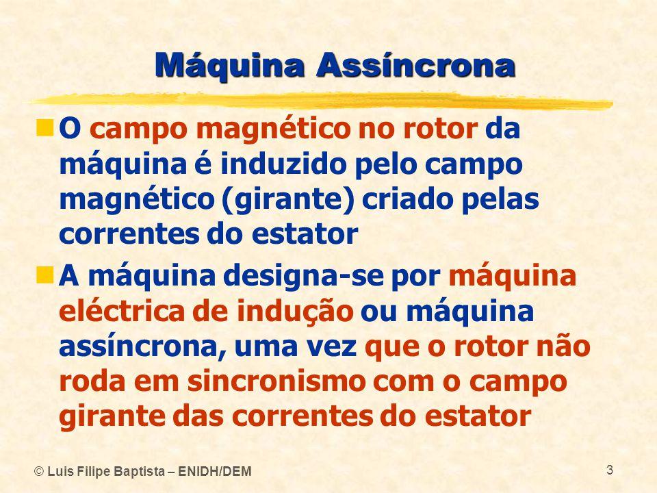 Máquina Assíncrona O campo magnético no rotor da máquina é induzido pelo campo magnético (girante) criado pelas correntes do estator.