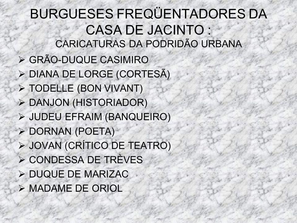 BURGUESES FREQÜENTADORES DA CASA DE JACINTO : CARICATURAS DA PODRIDÃO URBANA