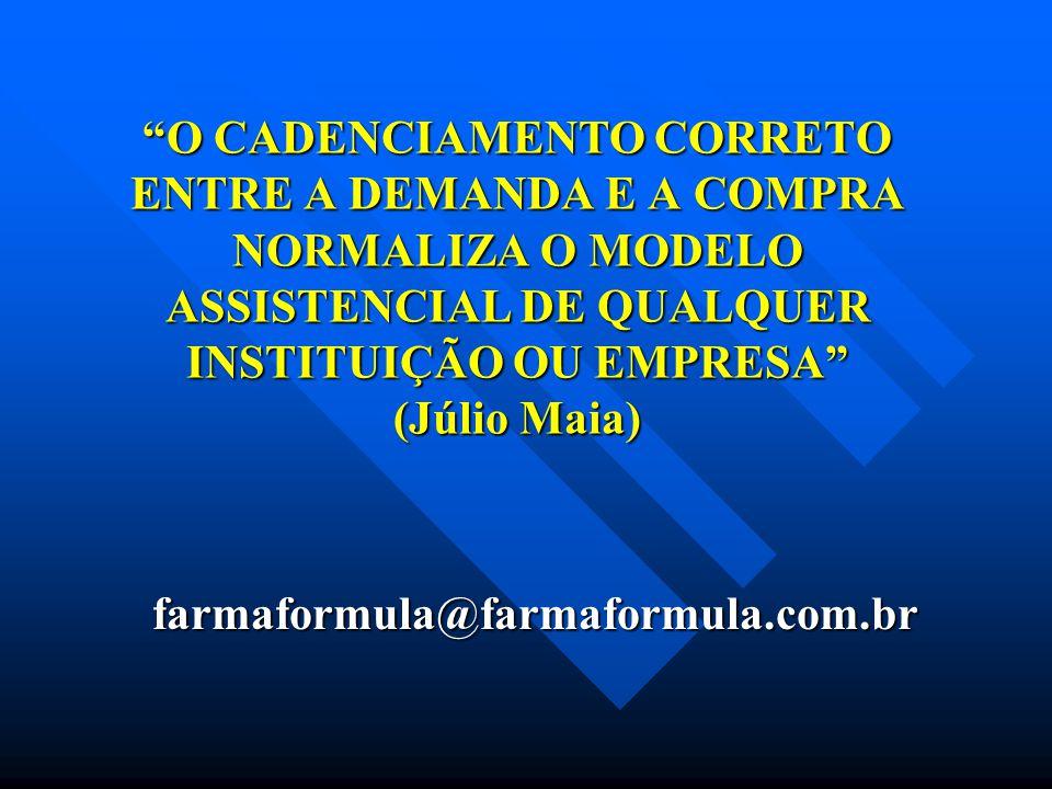 O CADENCIAMENTO CORRETO ENTRE A DEMANDA E A COMPRA NORMALIZA O MODELO ASSISTENCIAL DE QUALQUER INSTITUIÇÃO OU EMPRESA (Júlio Maia)