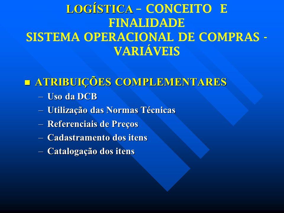 LOGÍSTICA – CONCEITO E FINALIDADE SISTEMA OPERACIONAL DE COMPRAS - VARIÁVEIS