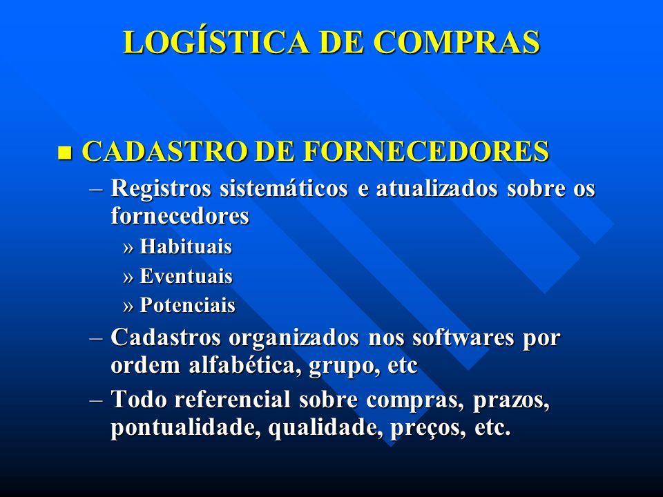 LOGÍSTICA DE COMPRAS CADASTRO DE FORNECEDORES
