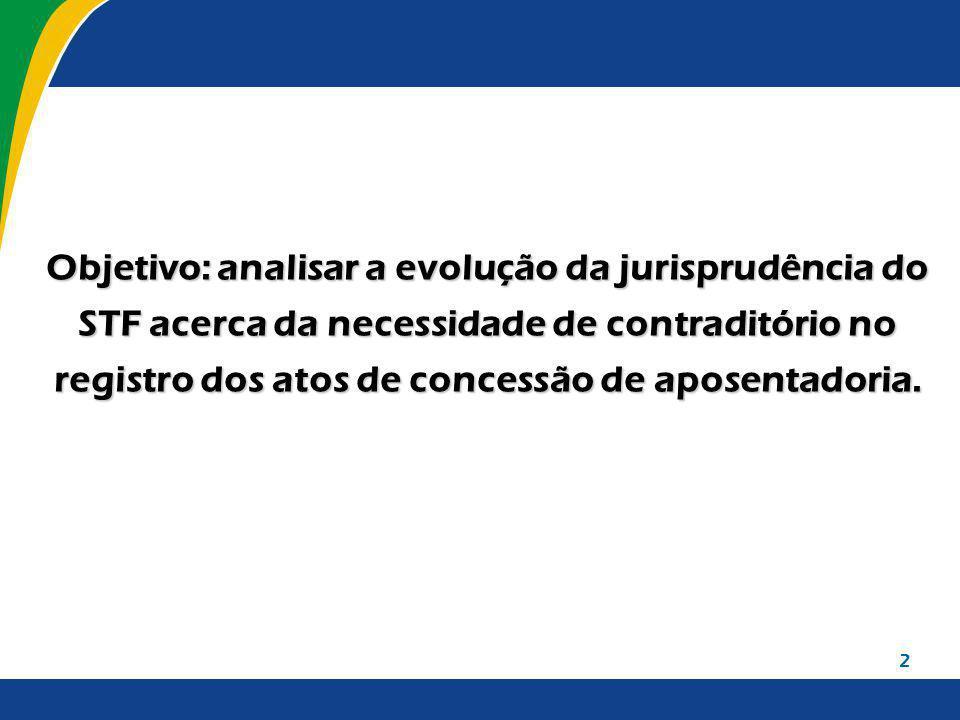 Objetivo: analisar a evolução da jurisprudência do STF acerca da necessidade de contraditório no registro dos atos de concessão de aposentadoria.