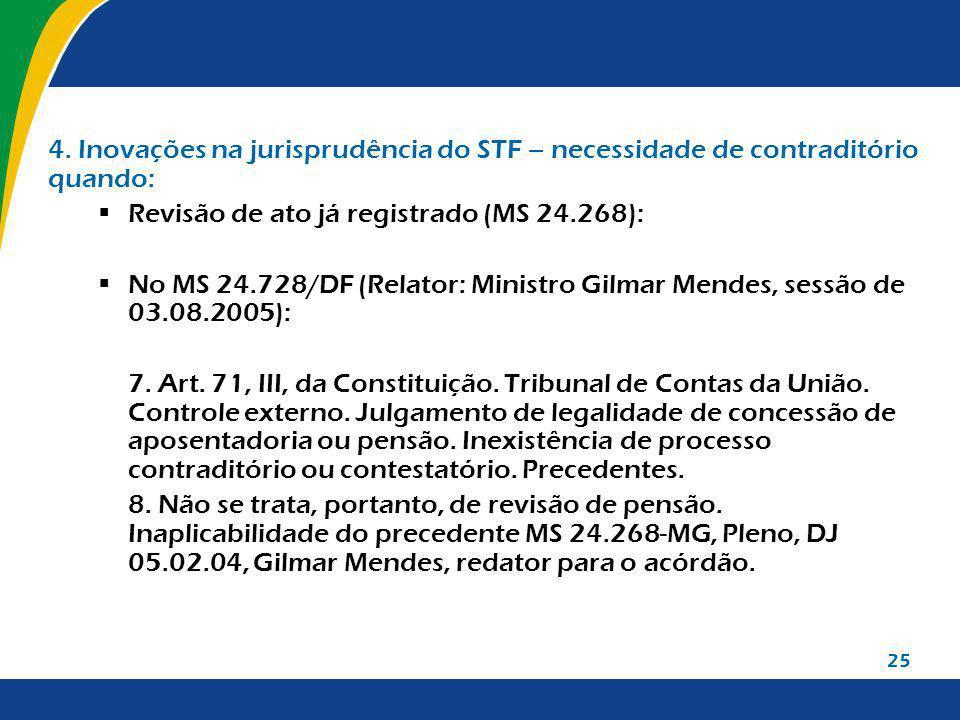 Revisão de ato já registrado (MS 24.268):