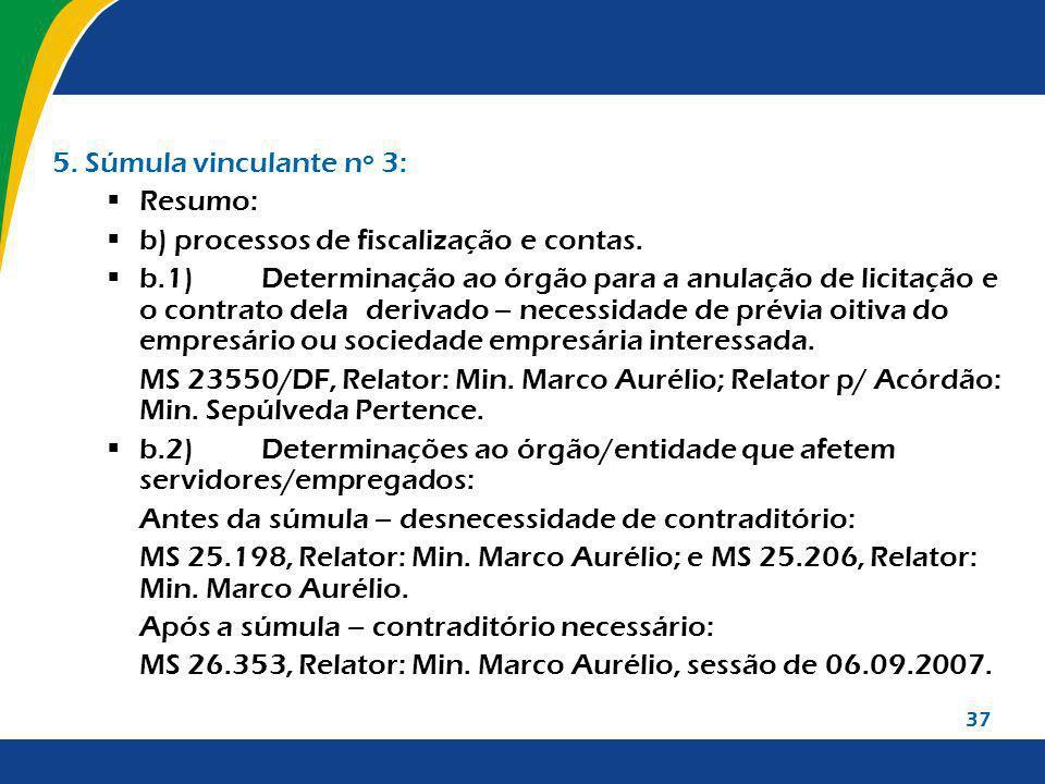 b) processos de fiscalização e contas.