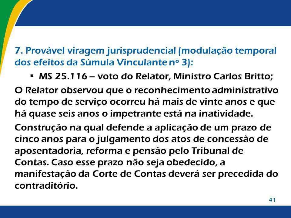 7. Provável viragem jurisprudencial (modulação temporal dos efeitos da Súmula Vinculante nº 3):