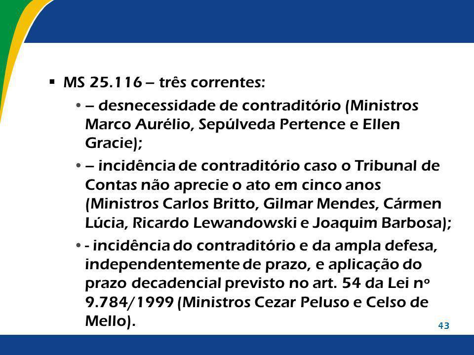 MS 25.116 – três correntes: – desnecessidade de contraditório (Ministros Marco Aurélio, Sepúlveda Pertence e Ellen Gracie);
