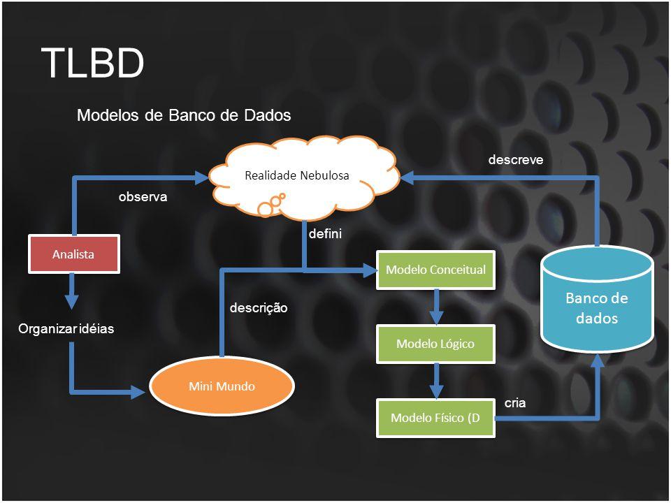 TLBD Modelos de Banco de Dados Banco de dados descreve observa defini