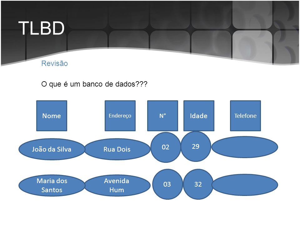 TLBD Revisão O que é um banco de dados Nome Idade 02 29